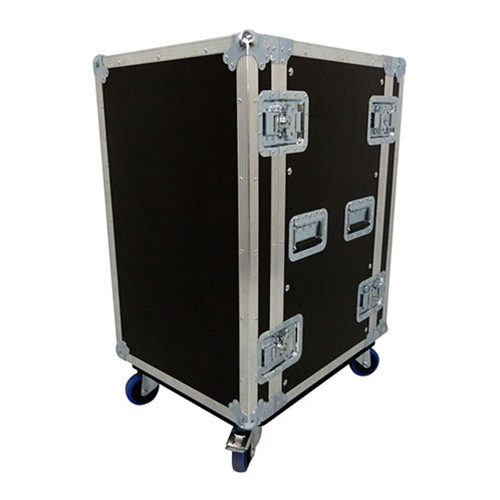 14U Rack Mount Flight Case with Wheels - Depth 607mm