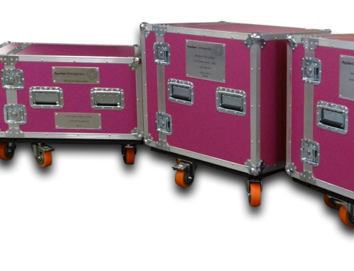 Bespoke Pink Rack Flight Cases for Aquilant