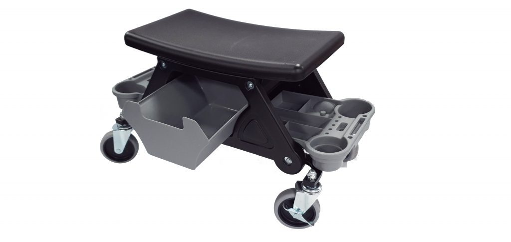 4 Challenger Wheel Garage Mechanics Utility Stool- With Drawer & 2 X Side Tool Tray – 100mm Wheel