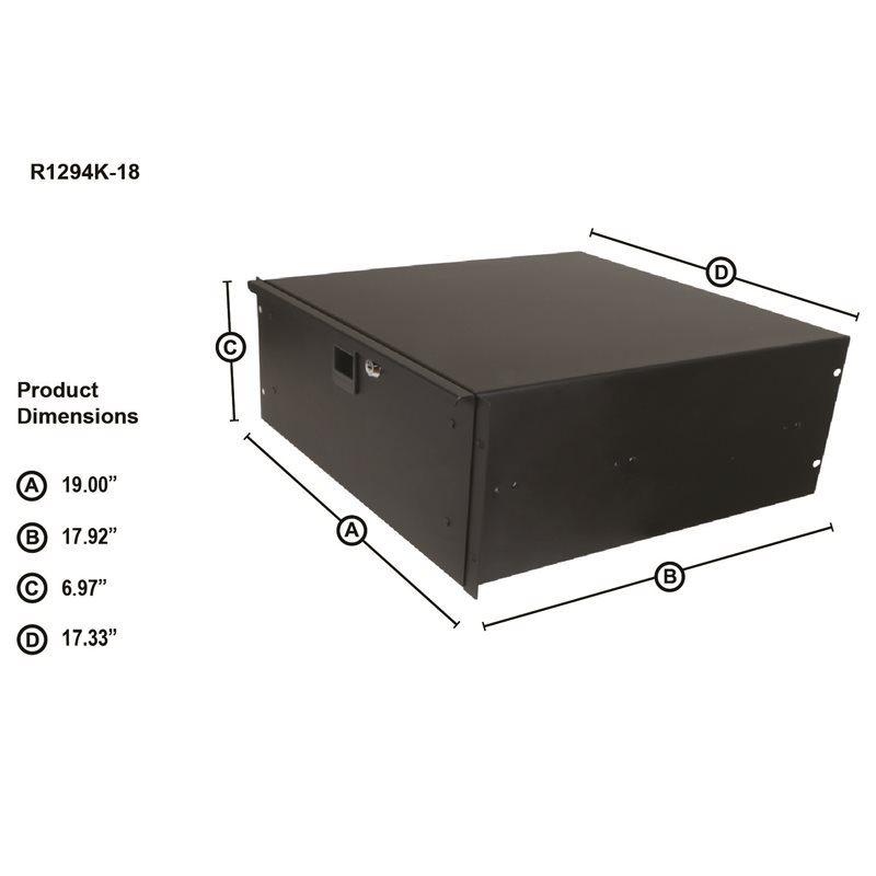4U Rack Drawer 455mm/18″ Deep