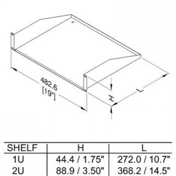 1U Rack Shelf Vented 272mm/10.71″ Deep R1194/1UVK