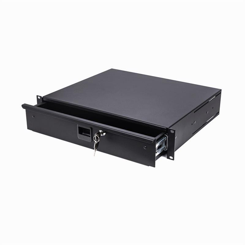 2U Aluminium Lightweight Rack Drawer Black 387mm / 14